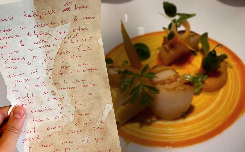 Una mujer encuentra una nota de socorro de un becario en un plato de Vieira con texturas de zanahoria y brotes picantes del restaurante de Jordi Cruz