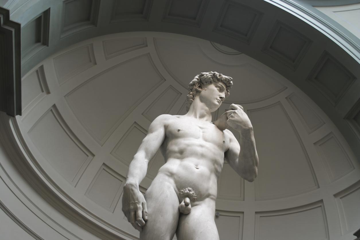 Detail picture ancient penis michelangelos david stock photo