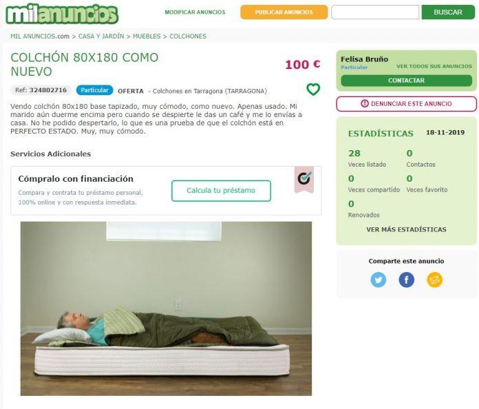 Vende un colchón en Milanuncios con su marido encima porque